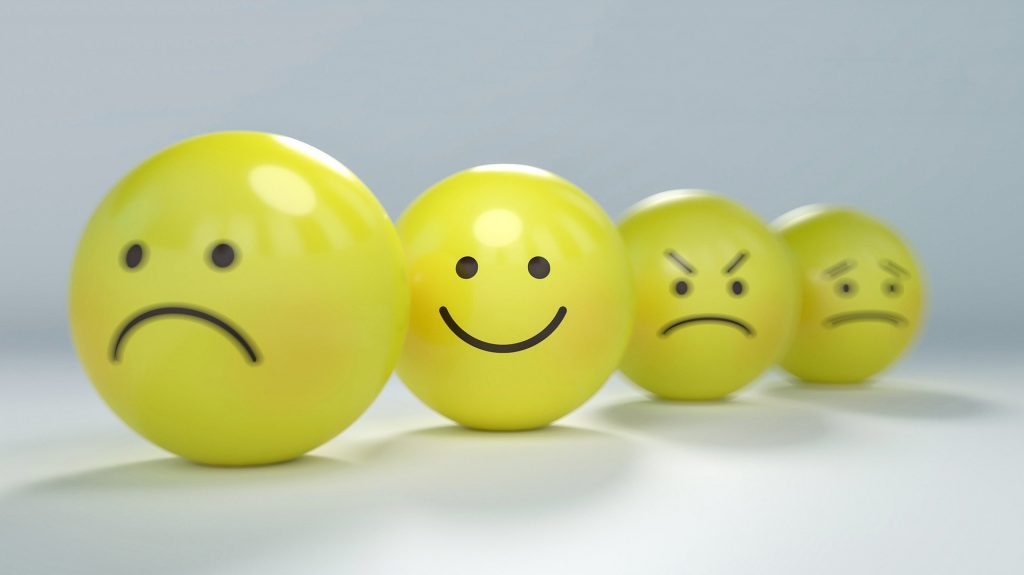 yellow balloons with different emotion faces on them