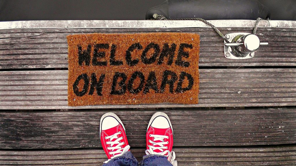 """welcome mat that says """"welcome onboard"""""""