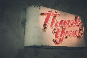lit-up thank you sign